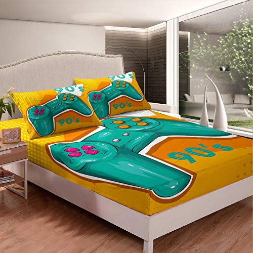 Feelyou Game Fitted Sheet Green Gamepad Bed Sheet Set Video Game Gamepad Bedding Set for Kids Boys Teens Game Controller Bed Cover Geometric Patterns Room Decor 2Pcs Sheets TwinXL Size