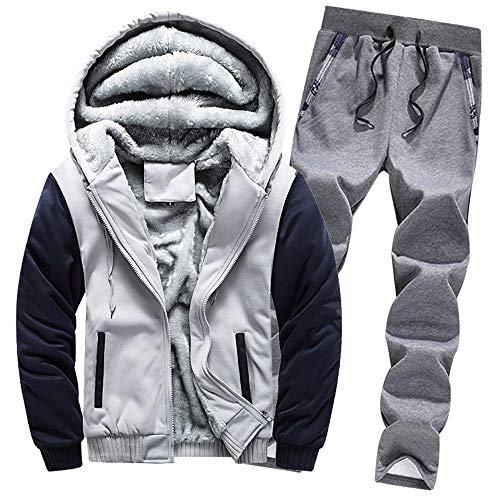 Aiserkly Herren Jogginganzug, Trainingsanzug, Sportanzug, Freizeitanzug, Hausanzug, Winter Verdicken Sporthose+Hoodie Zwei-Teilig Streetwear X-C-Grau 4XL