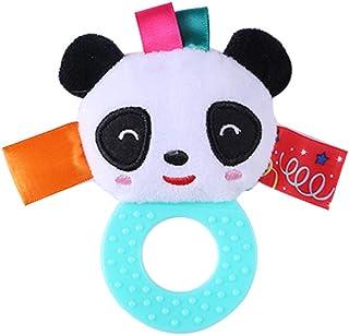 Plush Cartoon Animal Doll Panda Hand Stick Baby Toy Children's Gift Cartoon Teether Plush Ring Rattle