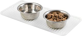 mDesign Premium Quality Pet Food and Water Bowl Feeding Mat for Dogs and Puppies - Waterproof Non-Slip Durable Silicone Pl...