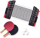 卓球セット 伸縮ネット卓球 ピンポン ネット ラケット 卓球ボール(格納式ネット×1 ラケット×2本 ボール×3個) ラケットセットアウトドア ポータブル