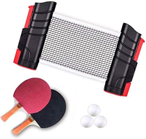 卓球セット 伸縮ネット卓球 ピンポン ネット ラケット 卓球ボール(格納式ネット×1 ラケット×2本 ボール×3個...