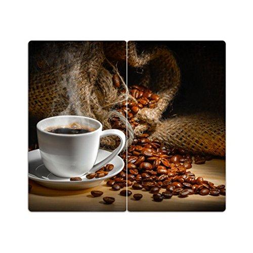 DEKOGLAS Herdabdeckplatten Set inkl. Noppen aus Glas 'Kaffee', Herd Ceranfeld Abdeckung, 2-teilig universal 2x 52x30 cm