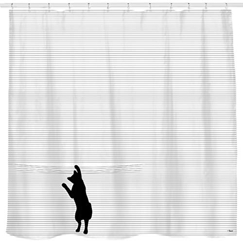 Sunlit Cute Black Cartoon Cat Shower Curtain with Black and White Stripes for Cat Lover,Funny Curious Kitten Pussy Fabric Bathroom Decor Set, PVC-Free Odorless.