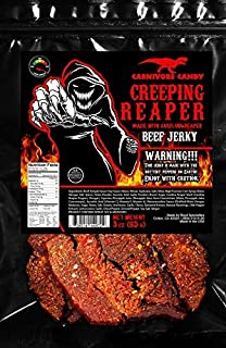 """""""Creeping Ghost"""" Carolina Reaper Jerky Beef Three - 3oz Bags The Reaper is the HOTTEST Pepper in the world! Sweet with Heat!"""