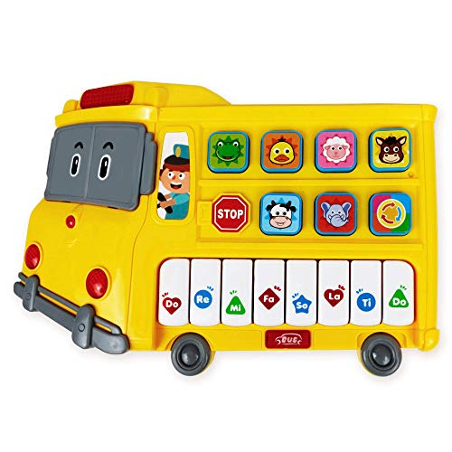 Learning School Bus Toy w/ Lights and Music – 8 Musical Note Piano Keys, 6 Animal Sounds Buttons and Mode Button – Toy Bus w/ Flashing Lights – Fun Toy School Bus for Toddlers 18+ Months