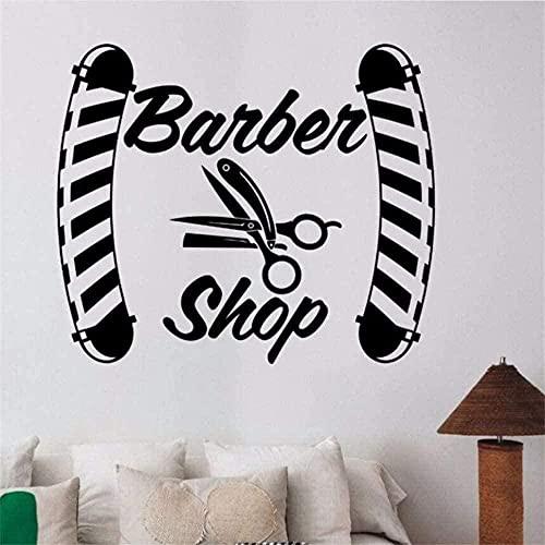 Stickers muraux Autocollant mural Autocollant de fenêtre de logo de salon de coiffure autocollant de salon de coiffure d'art 42*36 cm