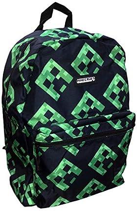 Minecraft Backpack, Mochila Escolar Creeper Unisex Adulto, Black, School Bag
