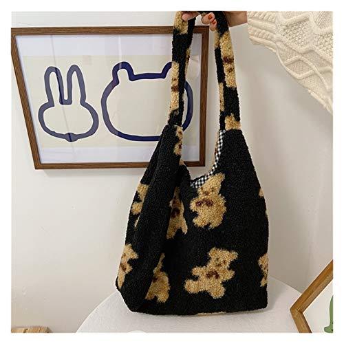 Youpin Bolso de lona para mujer, con diseño de cordero y osito, de gran capacidad, suave, para la compra, para niñas, linda bolsa escolar (color: negro, tamaño: 39 cm x 34 cm x 10 cm)