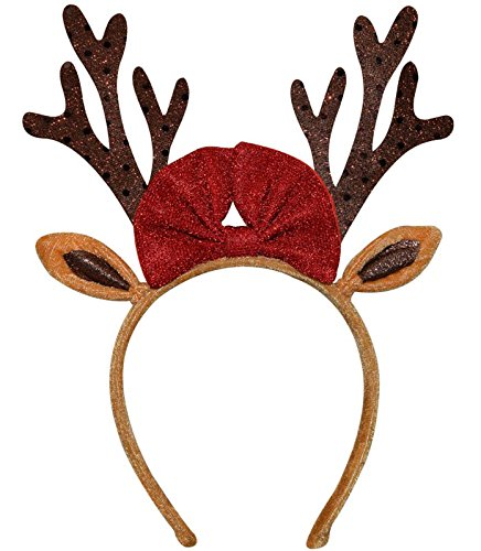ADJOY Christmas Reindeer Antlers Headband for Kids Boys Girls Adults Red/Brown