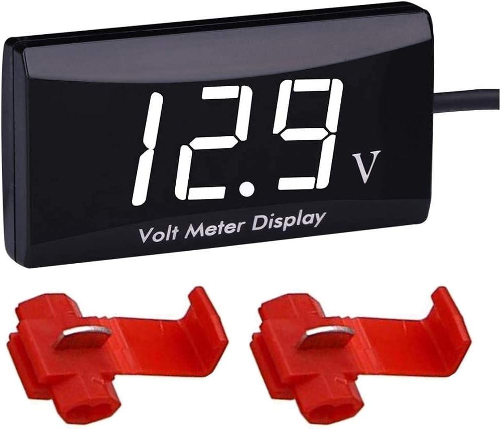 Greluma 1 Pieza Voltímetro Digital para Coche, Resistente al Agua, DC 12V, LED, Pantalla Digital, Voltímetro para Coche, Motocicleta, Voltímetro de Voltaje con Abrazaderas de Alambre