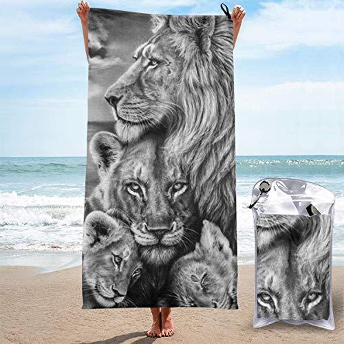 Toallas de playa Dibujo de león africano Sábanas de baño Toallas de baño Manta súper absorbente Baño Viaje Tamaño extra grande Piscina Trajes de baño Cubiertas Novedad Toallas Estera de yoga para pie