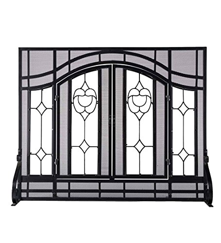 New Large Beveled Glass Diamond Fireplace Screen with Alternating Panels and Small Powder-Coated Tub...