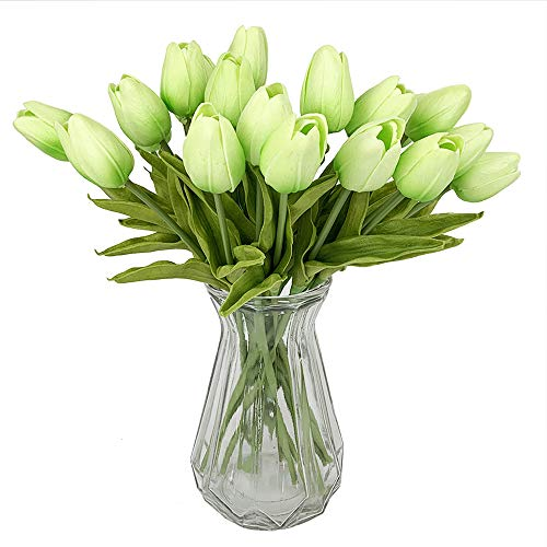 "Packozy 20 pcs PU Real-Touch Artificial Tulip Flowers 13.4"" for Home Wedding Party Decor (Light Green)"