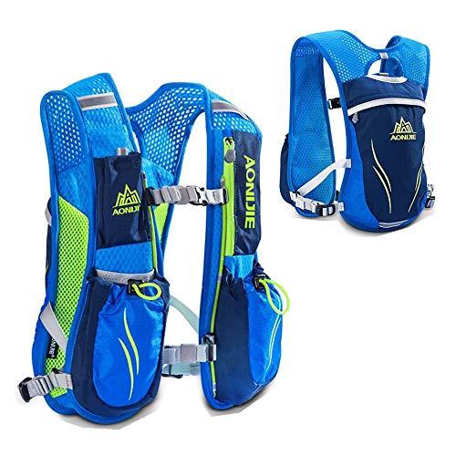 Sac d'hydratation de 5,5 L, par AONIJIE - Sac à dos à 6 poches avec pack d'hydratation pour marathon, course à pied, randonnée, blue no bladder