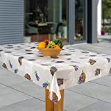 laro Wachstuch-Tischdecke Abwaschbar Garten-Tischdecke Wachstischdecke PVC Plastik-Tischdecken Eckig Meterware Wasserabweisend Abwischbar, Muster:Provence - Lavendelkorb, Größe:140x240