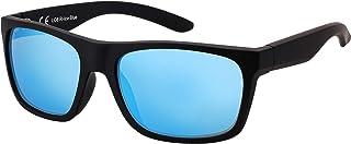 La Optica B.L.M. - La Optica Gafas de Sol LO8 UV400 Deportivas da Hombre y Mujer, Goma Negro (Lentes: azul claro espejada)
