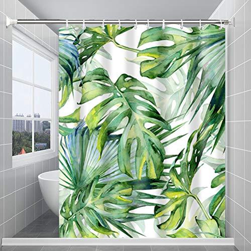 Huryfox Waterproof Shower Curtain Set with 12 Hooks Bathroom Décor Curtains, Tropical Bath Curtain for Bathtub (Green Leaf, 72x72 Inch)