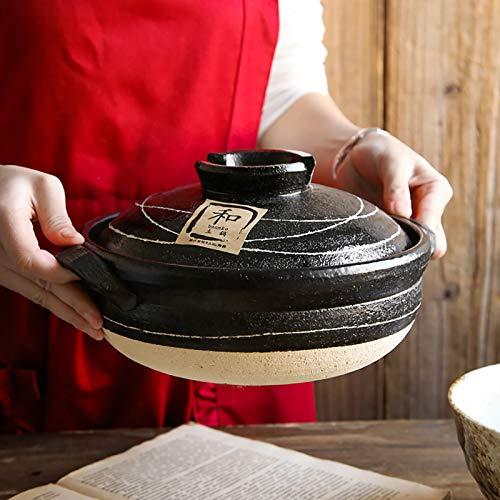 BB&UU Große Japanisch Donabe Keramik Vorratsdosen,Hitze-resistent Heißer Topf Steingut,Köstliche Gumbo Suppentopf Gemüse Eintopf Topf Auflauf Reiskocher-Schwarz 29x16cm(11x6inch)