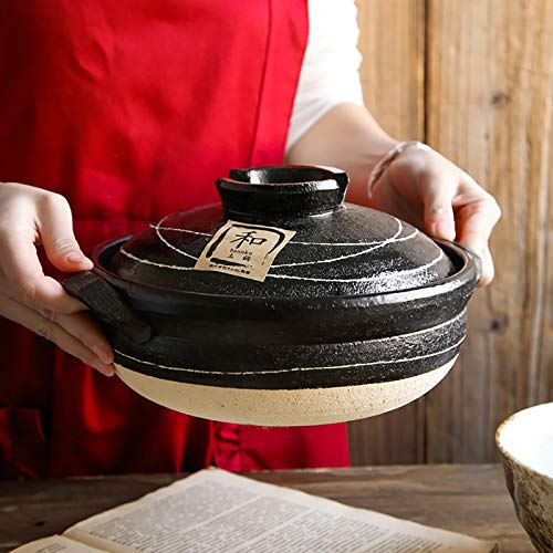 QTQHOME Grande Japonés Donabe Olla De Barro,Calor-Resistente Hot Pot Barro,Delicioso Gumbo Olla para Sopa Cazuela De Guiso De Verduras Olla De Arroz-Negro 33.5x17cm(13x7inch)