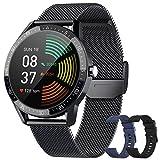 BANLVS Smartwatch, Reloj Inteligente Hombre IP68 con 3 Correas, Pulsómetro, 13 Modos Deportes, 1.28 Inch Reloj Deportivo Hombre con Notificación Inteligente, Cronómetros, Podómetro para Android iOS