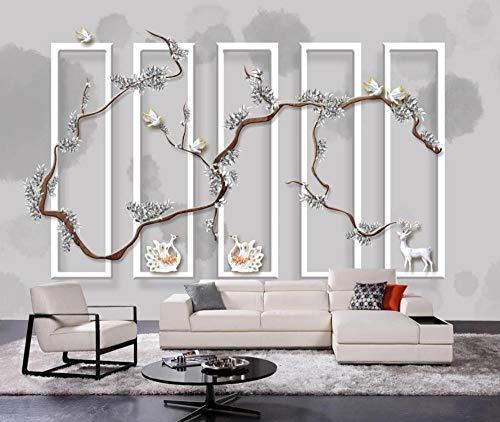 Papel Pintado 3D Rama De Flor De Plata En Relieve Fotomurales Decorativos Pared 3D