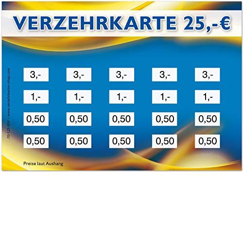 250 Verzehrkarten, Format DIN A7, Gesamtwert 25 €, praktische Alternative zu Wertmarken, für Vereine, Gastronomie, Firmen, Schulen u.v.m, einfaches bargeldloses Bezahlen