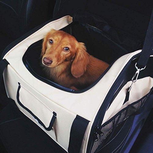 edahbjnest5mk Huisdier drager/Cat/Hond Auto Zit/Carrier hond autostoel/huisdier cart kinderwagen / (Crème, 40 * 34 * 26 cm), Beige