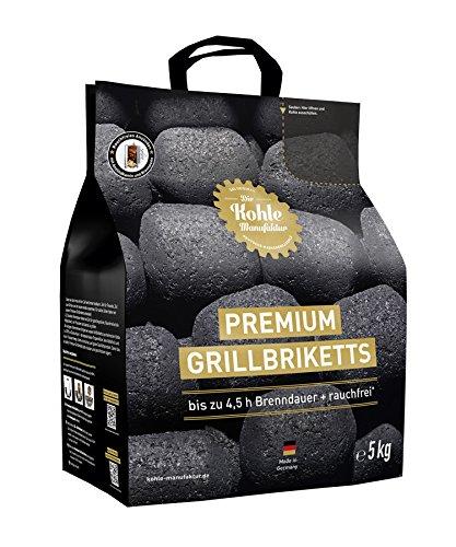 Die Kohle-Manufaktur Briquettes pour Barbecue de qualité supérieure - 5 kg - Noir