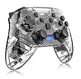 ZRSH Controlador PS4 Mando Inalámbrico, Antideslizante Bluetooth Gamepad Gamepads con Función de Vibración y Mini luz LED Transparente para Playstation 4 / Notebook/PC,Blanco