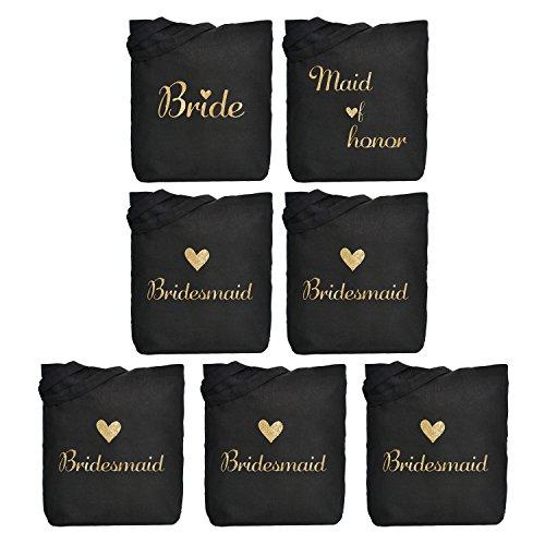 ElegantPark 1 Pcs Bride Tote Bag +1 Pcs Maid of Honor Bag + 5 Pcs Bridesmaid Tote Bags Set for Women's Wedding Favors Bride Bachelorette Gift Black with Gold Script 100% Cotton