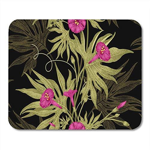 Mauspads Zusammenfassung Exotische Kletterpflanze Efeu Blumenzweig Blätter Blumen Mauspad für Notebooks, Desktop-Computer Matten Büromaterial