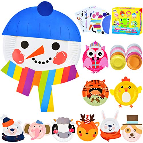 ZMLM Arts Crafts Toy Gift Christmas: Paper Plate Kit for Kids DIY Art Supplies Project Children Preschool Classroom Party Favor Activity Toddler Birthday Game Educational Holiday Crafts for Girls Boys