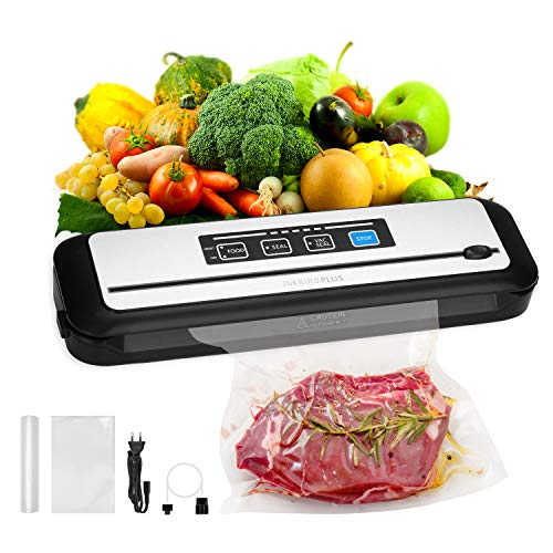 Inkbird Vacuum Sealer Machine with Starter Kit, Automatic PowerVac Air Sealing Machine for Food Preservation, Dry & Moist Sealing Modes,Built-in Cutter,Easy Cleaning,Led Indicator Lights for Vertical Storage