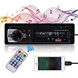 Single Din Car Stereo with Bluetooth in Dash MP3 Multimedia Player Vintage Classic Car Radio with FM, USB, Aux-in Input + Wireless Remote Control
