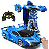 Zahooy RC Car Transforming Robot Model Toy,1:14 Gesture Sensing Drifting Remote Control Transform Vehicle,Deformed Racing with Realistic Engine Sounds & One-Button Transformation for Boys Girls(Blue)