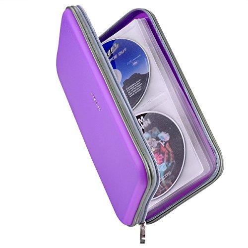 Wismart 72 Capacity Heavy Duty CD DVD Blu-ray Media Case Storage Holder Organizer Wallet (Purple)