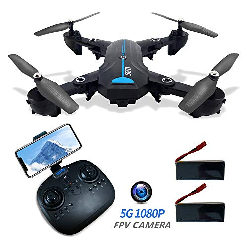 GPS Drones with Camera 1080P for Adults 5G FPV RC Drone with GPS Auto Return Home HD Wide-Angle Camera WiFi Live Video Quadcotper Helicopter for Kids Beginners 40Mins Long Flight Time