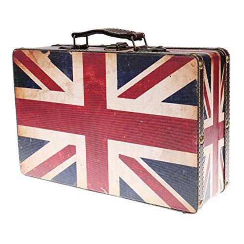 Fenteer Home Decorative Shabby Chic Vintage Wooden Suitcase Storage Trunk Boxes Luggage Style British Union Jack Design