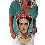 Mujeres Frida Kahlo Avatar Diseñador De Impresión Camisetas Vintage Verano Casua Cuello En V Camisetas De Manga Corta para Mujer Foto-Color L Shirt