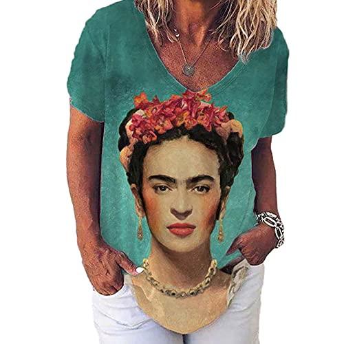 Mujeres Frida Kahlo Avatar Diseñador De Impresión Camisetas Vintage Verano Casua Cuello En V Camisetas De Manga Corta para Mujer Foto-Color 3XL Shirt