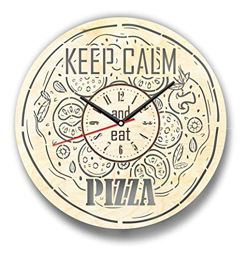 wangchengo Orologio da Parete Keep Calm And Eat Pizza Orologio da Parete in Legno Perfetto e splendidamente Tagliato Decorare l'orologio(16inch)
