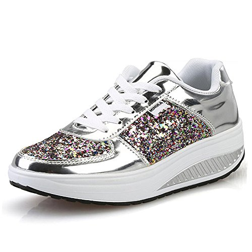 QZBAOSHU Damen Abnehmen Walkingschuhe Turnschuhe Fitness Keile Plattform Schuhe Sneakers(3 Silber,41)