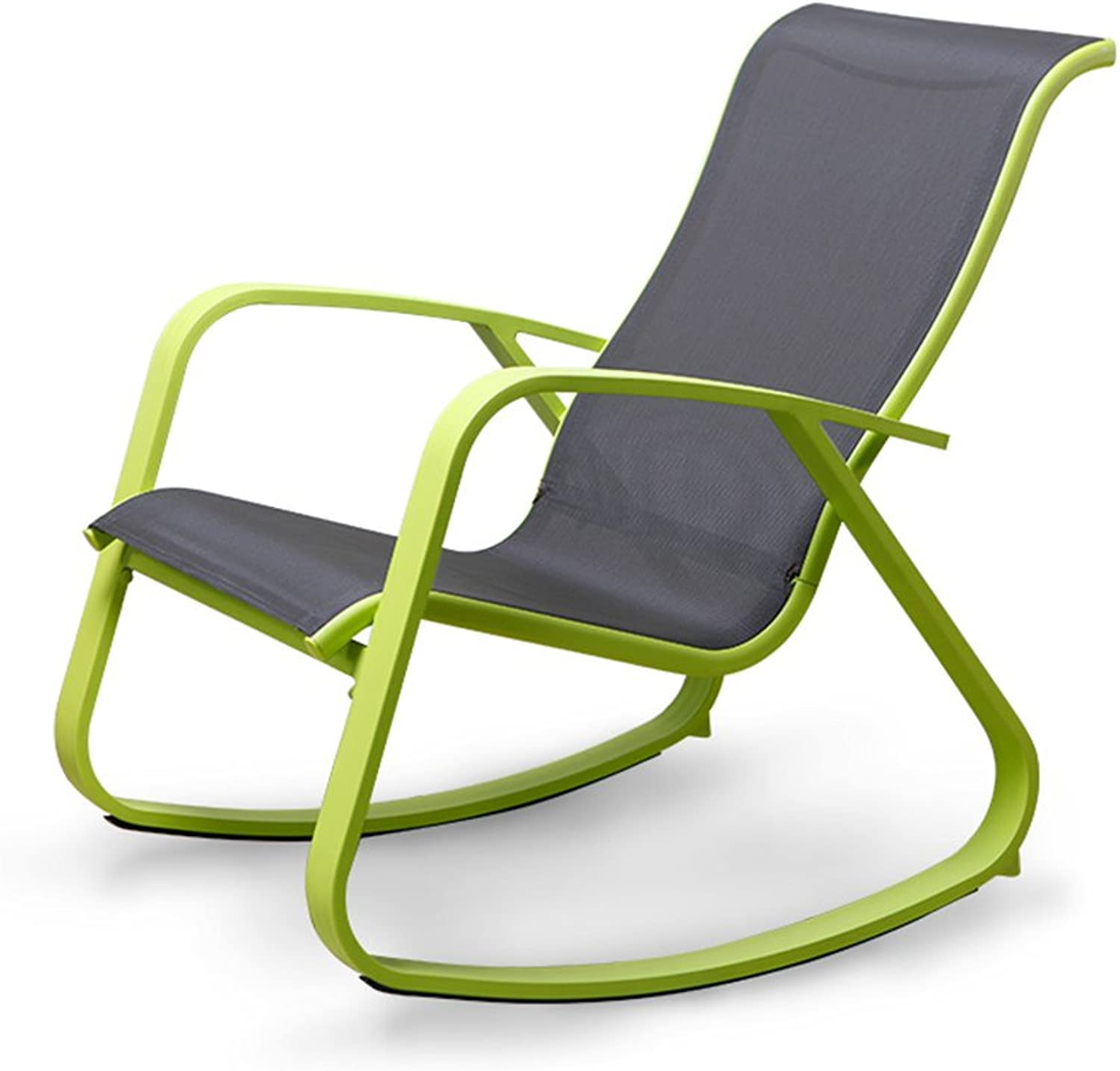 LVZAIXI Nordic Modern Rocking Chair Lounge Chair Environmental Predection Fabric + Steel Material Beach Chair Napping Chair Lazy Chair Garden Chair Balcony Lounge Chair Sun Lounger (color   Green)