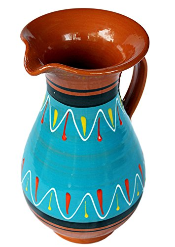Cactus Canyon Ceramics Spanish Terracotta 2 Quart Pitcher, Blue