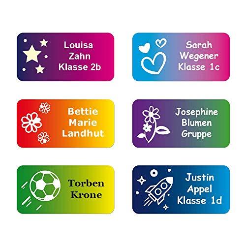 foliado® Namensaufkleber Kinder bis zu 3-zeilig Etikett 30x15mm Sticker Namensetikett Schule Kita Kindergarten personalisierte Klebeetiketten wasserfest (60 Stück) APD-020