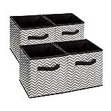 BrilliantJo Aufbewahrungsboxen aus Stoff in 4er Set, Aufbewahrungskorb 30 x 30 x 30 (cm), Faltbare Aufbewahrungskiste für Schrank, Regal, Regalsystem, Spind – Grau Chevron