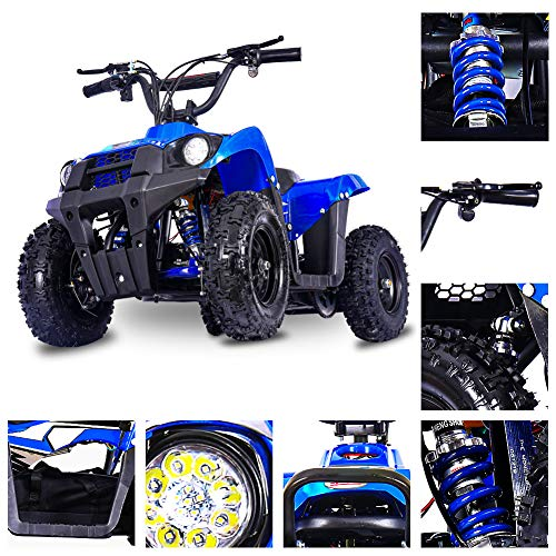 FITRIGHT Monster 36Volt 500Watt Electric Mini ATV Kids 4 Wheeler Kids Quad Off Road Vehicle with Reverse and Working Headlight. (Blue)