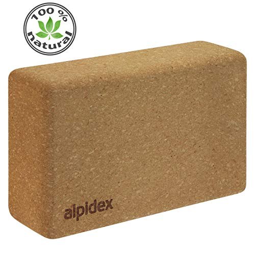 ALPIDEX Bloque de Corcho Yoga Block Cork Ladrillo Natural Bloc Pilates Jueago de 2 o Solo, Tamaño:2 Piezas - 23 x 14 x 7.5 cm
