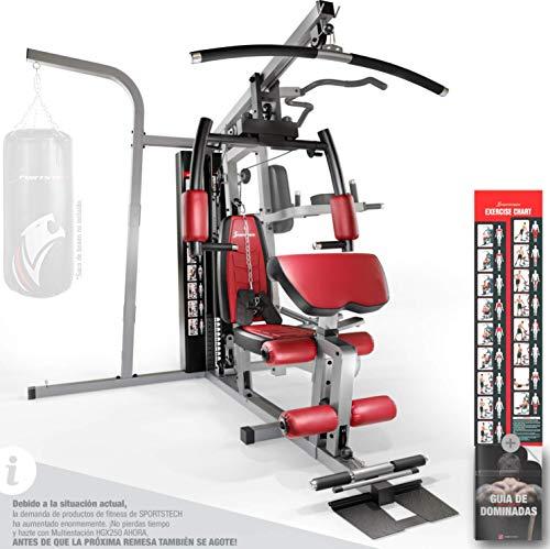 Sportstech 50en1 Premium Multiestación para Entrenamiento Completo   Gimnasio Multifuncional con Stepper y Torre de Tracción LAT   Estación de Fitness   HGX de Material Eva   Robusto   Hogar & Boxeo